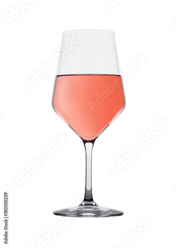Foto op Canvas Alcohol Glass of rose pink wine isolated on white