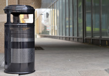 Trashcan Ashtray In Outdoor