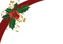Christmas Background With Holly And Golden Decoration And Confetti And Red Sparkling Ribbon On White - Illustration, Vector