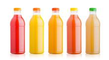Plastic Bottles With Fresh Organic Juice On White