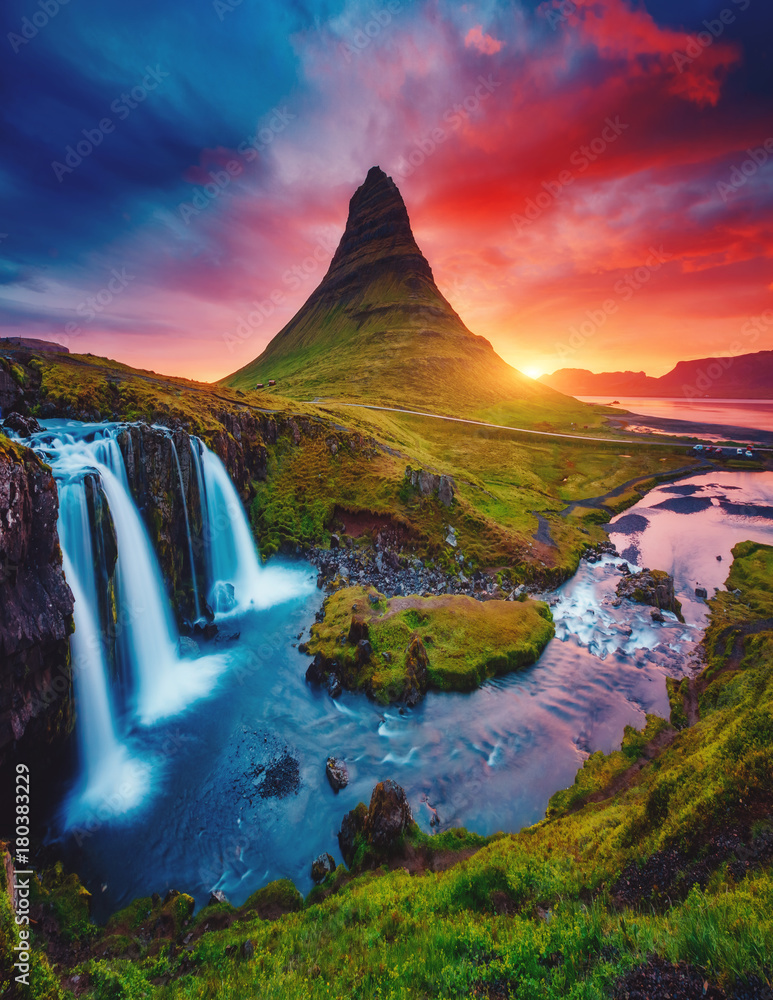 Kirkjufell volcano the coast of Snaefellsnes peninsula. Location famous Kirkjufellsfoss waterfall, Iceland, Europe.
