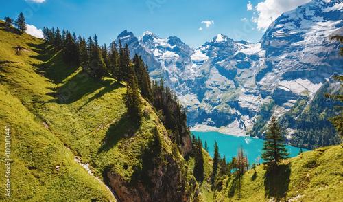 Keuken foto achterwand Verenigde Staten Panorama of the azure lake Oeschinensee. Swiss alps, Kandersteg.