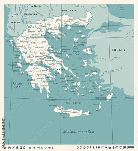 Greece Map - Vintage Vector Illustration Wallpaper Mural