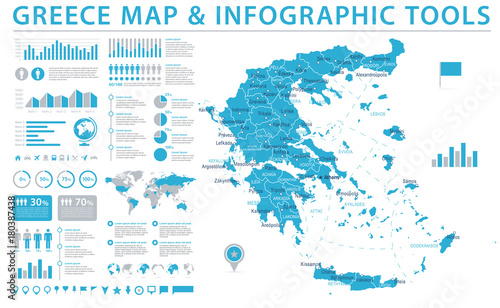 Photo Greece Map - Info Graphic Vector Illustration