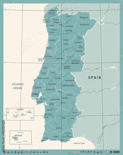 Photo Portugal Map - Vintage Vector Illustration