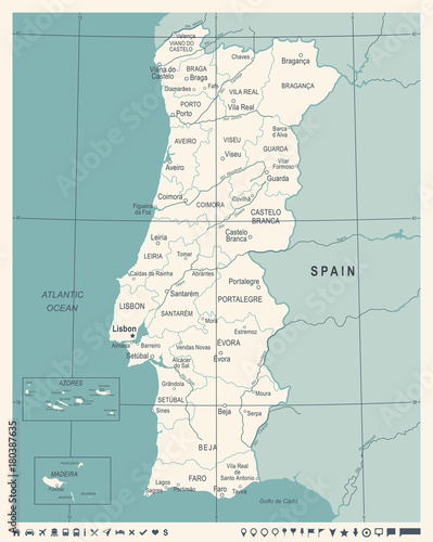 Portugal Map - Vintage Vector Illustration Wallpaper Mural