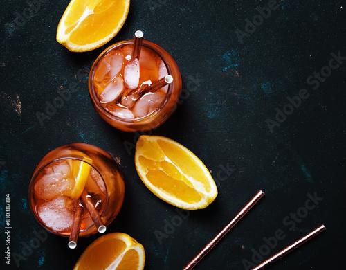 Canvas Print Italian Orange Cocktail With Aperitif, Ice, Sparkling Wine And Orange Slice, Top