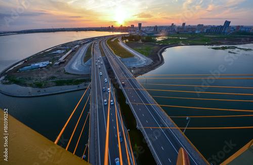 In de dag Brug Millenium bridge in Kazan aerial view at sunset time with panoramic view of Kazan city