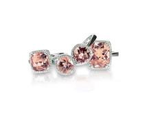 Set Of Peach Pink Morganite Rings Gemstone Fine Jewelry. Group Stack Or Cluster Of Multiple Gemstone Diamond Rings.