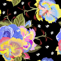 Seamless tropical pattern with hibiscus and roses. Hand-drawn floral background for textile, cover, wallpaper, gift packaging, printing.Romantic design.