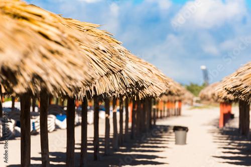View of the sandy beach in Varadero, Matanzas, Cuba. Close-up. Canvas Print