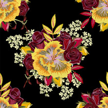 Seamless Pattern With Beautiful Roses And Hibiscus. Hand-drawn Floral Background For Printing On Fabric, Clothing, Home Textiles, Wallpaper, Gift Wrapping. Bright Festive Design.