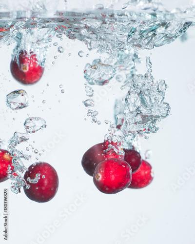 Foto op Canvas In het ijs Cranberries frozen in water 3