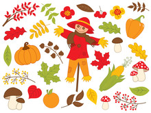 Vector Autumn Set With Leaves,...