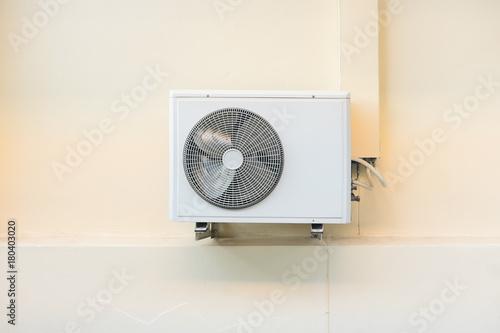 Fotografia Air compressor or condenser unit outside building
