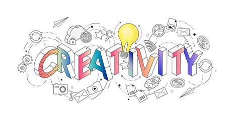 Izometryczne koncepcja literami cienka linia, typografia słowo kreatywność z ikonami linii