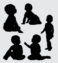 Babies Action Silhouette, Good Use For Symbol, Web Icon, Mascot, Logo, Sign, Sticker, Or Any Design You Want. Easy To Use.