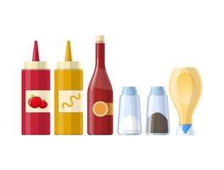 Set umaka, začina i začina, u različitim realističnim bocama.