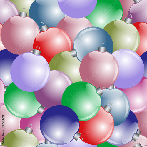 Seamless vector New Year's pattern from multi-colored balls