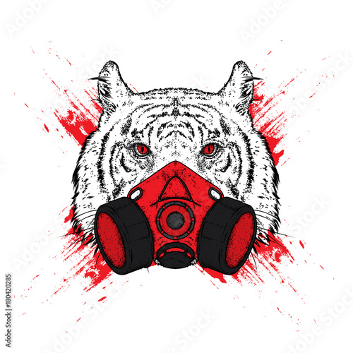 Keuken foto achterwand Vlinders in Grunge Tiger in a mask for graffiti. Respirator. Vector illustration for a postcard or a poster, print for clothes.
