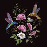 Embroidery humming bird and chamomile. Beautiful hummingbirds, summer flowers and white chamomile embroidery on black background. Template for clothes, textiles, t-shirt design - 180430078