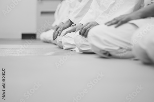 students sitting in a kimono in the gym Canvas Print