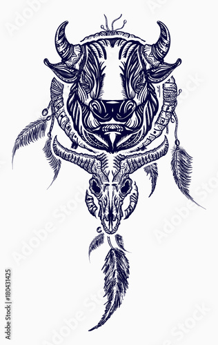 Tribal Bull And Dreamcatcher Tattoo Art Indian Dream Catcher With