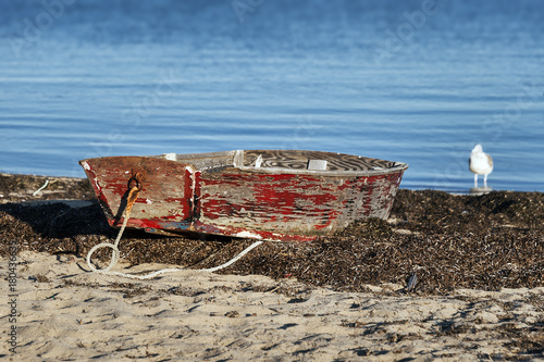 Photo  Rustic rowboat on the beach, Cape Cod, Massachusetts, USA.