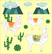 Three Llama, alpaca of white color, with bright saddles on the background of mountains, cacti, clouds