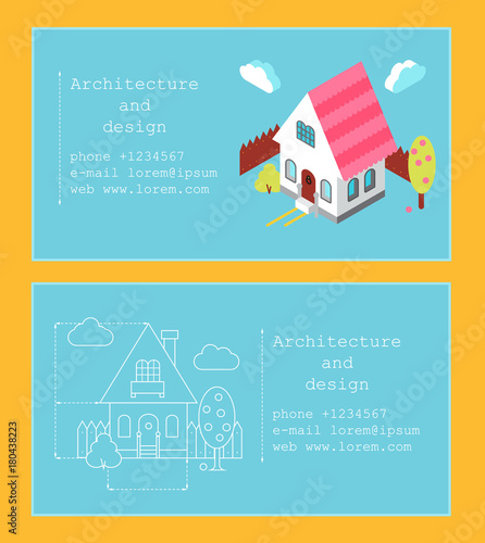 Business card template for construction company or architect business card template for construction company or architect business card with isometric house and building reheart Gallery