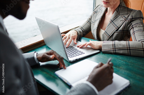 Garden Poster Businesswoman typing on laptop keypad while interacting with business partner at meeting