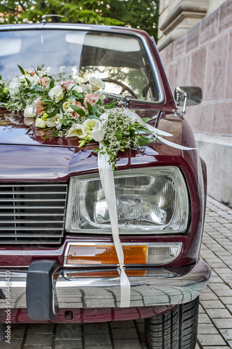 Fototapety, obrazy: Closeup of wedding car with flowers