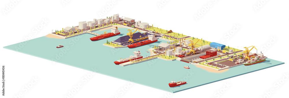 Fototapeta Vector low poly commercial port
