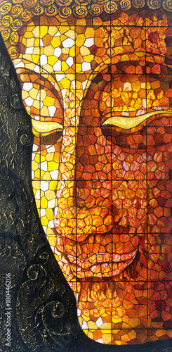 Photo  Art Buddha stained glass. Acrylic color painting on canvas.