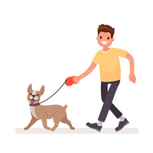 Man Is Walking With A Dog. Vec...