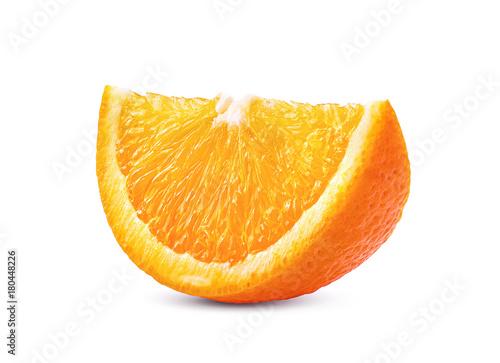Leinwand Poster slice of orange fruit on white background