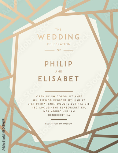 Golden Wedding Invitation Template Kaufen Sie Diese Vektorgrafik