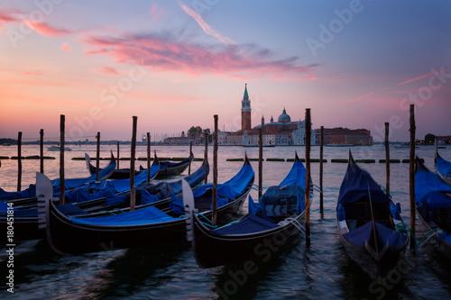 Staande foto Venice Gondolas in Grand Canal on sunrise, Venice, Italy
