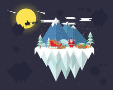 Santa Claus Preparing Many Boxes Of Gift While His Reindeers Are Sleeping Beside The Sleigh, Santa Claus Busy With Delivering Gifts To The People, Merry Christmas And Happy New Year, Santa's Planet
