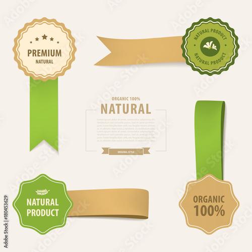 natural label and ribbon tag green color  vintage banner