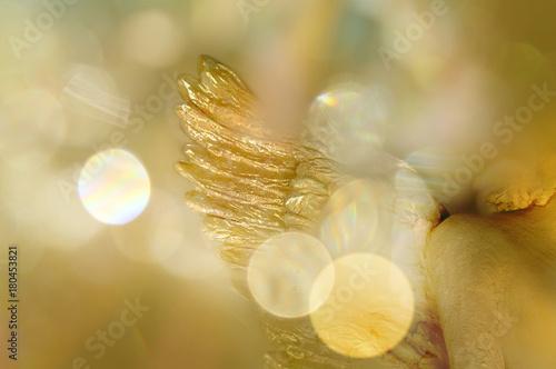 Fotografie, Obraz  Goldener Engelsflügel/Engel in warmem Licht