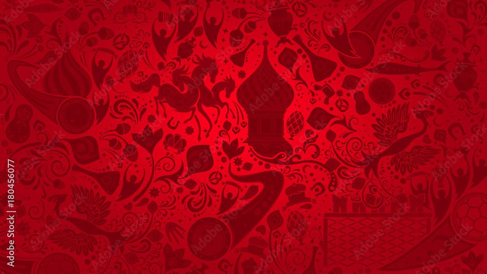 Fototapety, obrazy: Russian red wallpaper, vector illustration