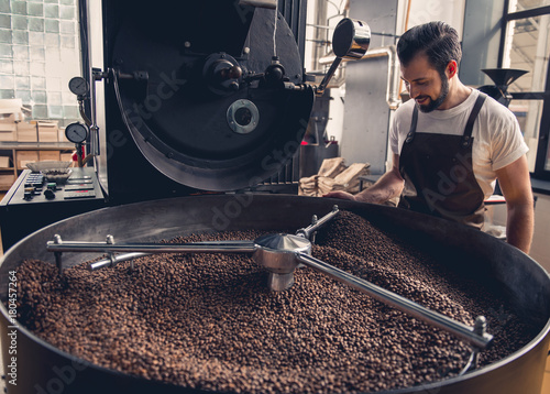 Poster Café en grains Side view smiling unshaven worker watching at coffee beans situating in grain chiller. Industry concept