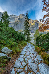 Fototapeta Do biura Tatra mountains, footpath near Morskie Oko lake, fall morning, Poland