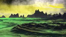 Fantasy Alien Planet. Rocks An...