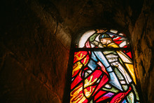 One Of The Stained Glass Windows Shot From The Inside Of St Margaret's Chapel In Edinburgh Castle. The Chapel Is The Oldest Surviving Building In Edinburgh.