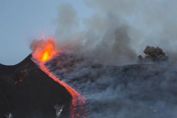 Eruption of Etna Volcano in Sicily,Italy