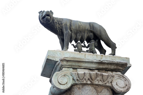 Photo  Statue of the she-wolf with Rem and Romulus isolated
