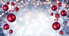 Red Christmas Balls Hanging Wi...