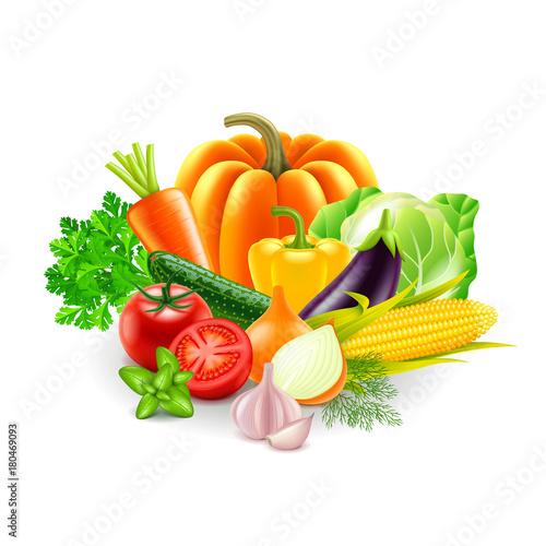 Fototapeta vegetables on white background vector obraz